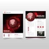 Red black technology Vector annual report Leaflet Brochure Flyer template design, book cover layout design Royalty Free Stock Photography