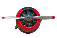 Red and Black AT-6 Texan Engine and Propeller Royalty Free Stock Image