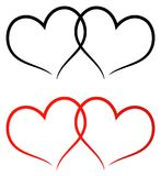 Red and black two hearts clip art. Simple illustration of red and black two hearts clip art on white background Royalty Free Stock Photography