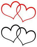 Red and black two hearts clip art. Simple illustration of red and black two hearts clip art on white background Stock Images