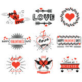 Red and black Valentines day design elements set on white background Stock Images