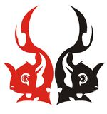 Red and black vector fishes Royalty Free Stock Photography