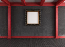 Red and black vintage  empty room Royalty Free Stock Photography
