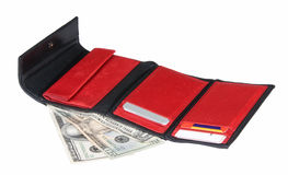 Red And Black Wallet With Spending Cash Stock Image