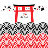 Red Black wave seamless patterns Fushimi Inari Taisha Shrine in Kyoto, Japan wall Vector Royalty Free Stock Images