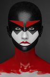 Red black white Art Makeup Beauty Girl Royalty Free Stock Photos