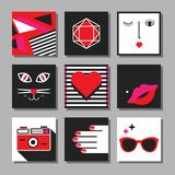 Red, black and white flat pop art minimal square cards set. On gray background Royalty Free Stock Photography