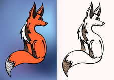 Red and black & white fox symbol. A red side sitting fox logo Royalty Free Stock Image