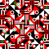Red black white green cubist bauhaus style tileable background Royalty Free Stock Photos