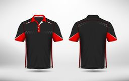 Red, black and white layout e-sport t-shirt design template. Illustration royalty free illustration