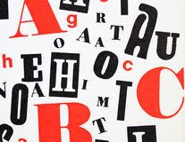 Red black white - ABC letters mixture. Mix of different red, black and white letters Royalty Free Stock Photo