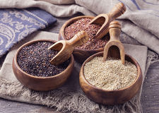 Red, black and white quinoa seeds stock photography