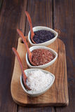 Red, black and white rice in bowls Stock Image