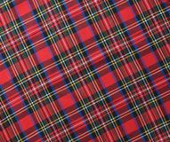 Red black and White rustic plaid fabric swatch textile backgroun. D Royalty Free Stock Photography