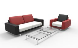 Red Black And White Sofa With Coffee Table Stock Image