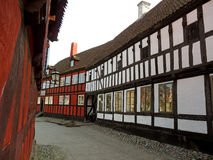 Red, Black and White Traditional Buildings in Den Gamle By, The Old Town of Aarhus Royalty Free Stock Photos