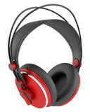 Red and black wireless headphones isolated on white Royalty Free Stock Photos