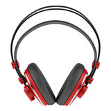 Red and black wireless headphones isolated on white Stock Photo