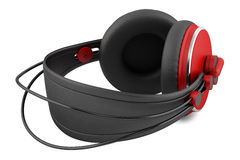 Red and black wireless headphones isolated on white Stock Images