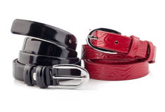 Red and black woman belt isolated on white Royalty Free Stock Photography