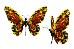 Red black yellow paint made butterfly set Royalty Free Stock Photos
