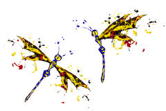 Red black yellow paint made dragonfly set Royalty Free Stock Photos