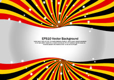 Red, Black and Yellow Radial Swirl with sparkling star vector background Stock Photo