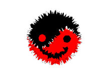 Red and black Yin yang. Smile Stock Images