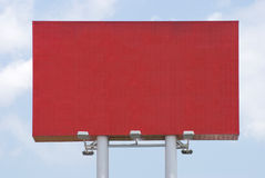 Red blank Billboard for commercial advertise. With blue sky stock photos