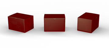 Red blank box packaging with clipping path Royalty Free Stock Image