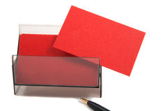 Red blank business card in a box Royalty Free Stock Photography