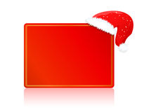 Red blank card on christmas or new year with hat Stock Photos