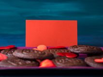 Red blank card, hearts and cookies. Spelling For You. Romantic home made gift Royalty Free Stock Photos