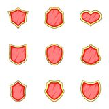 Red blank, classic shield icons set, cartoon style Royalty Free Stock Photos