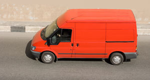 Red blank delivery van of my. Business vehicles series Stock Photos