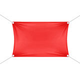 Red Blank Empty Horizontal Rectangular Banner. With Corners Ropes. Textile, Fabric or Nylon with Folds. Vector Illustration Isolated on Background. Ready stock illustration