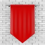 Red Blank Fabric Flag Mockup. 3d Rendering. Red Blank Fabric Flag Mockup in front of brick wall. 3d Rendering Stock Image