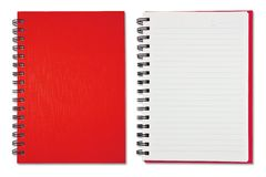 Red Blank Note Book. Isolated on the white background Stock Photo