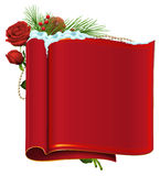 Red blank paper scroll, fir branch, berry and rose Royalty Free Stock Images