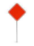 Red blank rectangle traffic sign. Blank red rectangle traffic sign isolated on white. 3d illustration Stock Photos