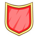 Red blank shield icon, cartoon style. Red blank shield icon. Cartoon illustration of red blank shield vector icon for web Stock Image
