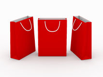 Red blank shopping bag  with clipping path. Ready for your texture ,design or brand on it Stock Photography
