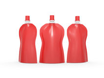 Red blank stand up curve  bag packaging with spout lid, clipping Stock Image
