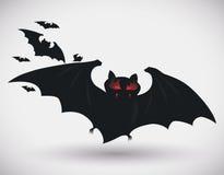 Red Blazing Eyes Dark Bat, Vector Illustration Royalty Free Stock Images