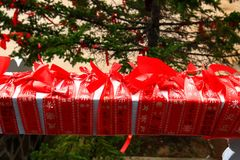 Close-up of red blessing ribbon in Medicine Buddha old temple in Jingpo lake geopark2. The red blessing ribbon are use to express the good wishes of the people Stock Photography