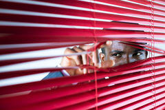 Red blinds. Afro-american businessman glancing through red blinds. Copy space royalty free stock photo