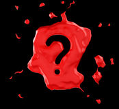 Red blob question mark over black Stock Images