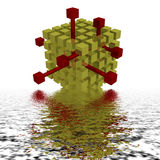 The red block coming out of many golden blacks. Red block coming out of many golden blacks vector illustration