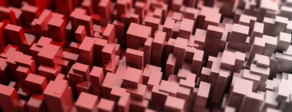 Red blocks abstract background. 3d illustration Stock Images