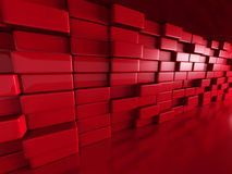 Red Blocks Architecture Design Background. 3d Render Illustration Stock Photo